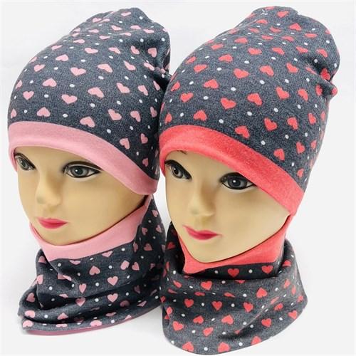 ambra комплект шапка двойной трикотаж + снуд (р.48-50,52-54) сердечки - фото 33984