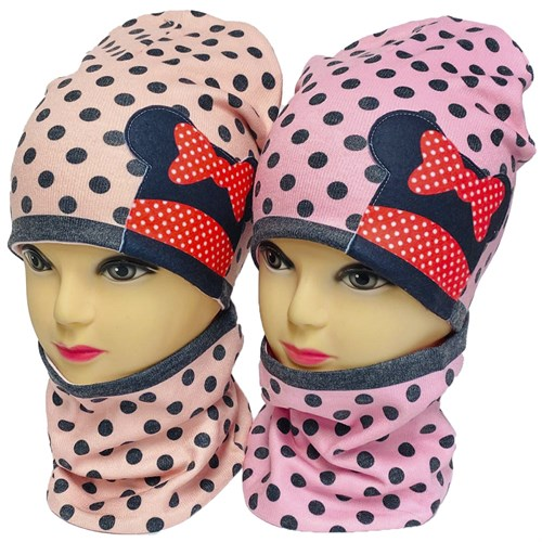 ambra комплект шапка двойной трикотаж + снуд (р.48-50,52-54) бантик - фото 33994