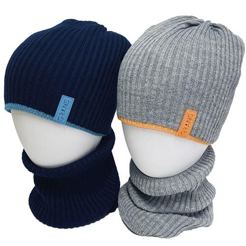 GRANS комплект K 475 ACR-D шапка вязаная, подклад хлопок + снуд (р.52-54) - фото 34283