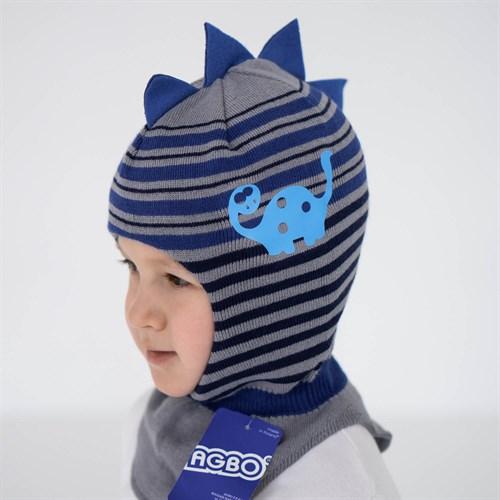 AGBO шлем 2835 DINOZAUR вязаный, подклад хлопок (р.46-48) - фото 36041