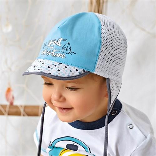 AJS кепка 42-321 с завязками, хлопок с сеткой (р.48,50,52) - фото 36580