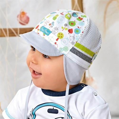 AJS кепка 42-311 с завязками, хлопок с сеткой (р.40,42,44) - фото 37251