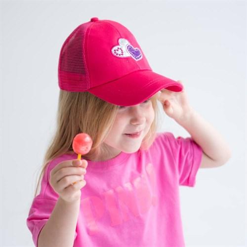 Milli бейсболка детская Сердца (р.50-52) с сеткой - фото 37656