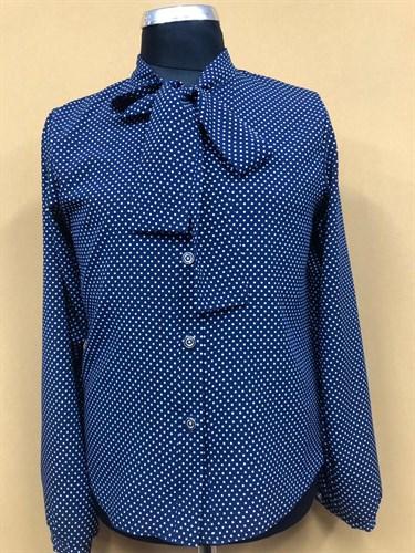Catherine блузка длинный рукав, прямая, синяя в горох (р.158-170) - фото 37733