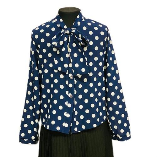 Catherine блузка длинный рукав, прямая, синяя в горох (р.128-158) - фото 37763