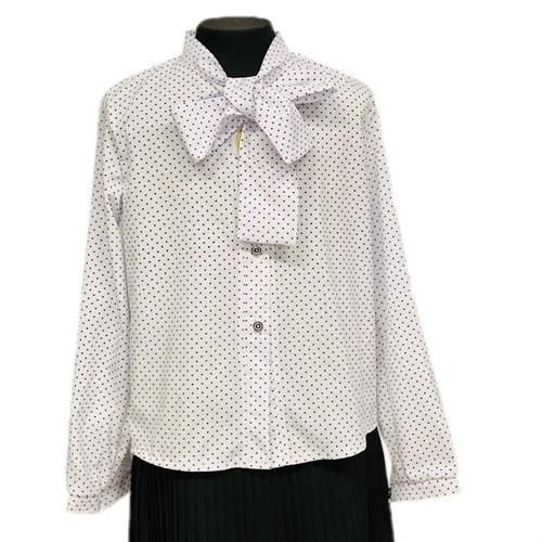 Catherine блузка длинный рукав, прямая, белая в горох (р.128-158) - фото 37764