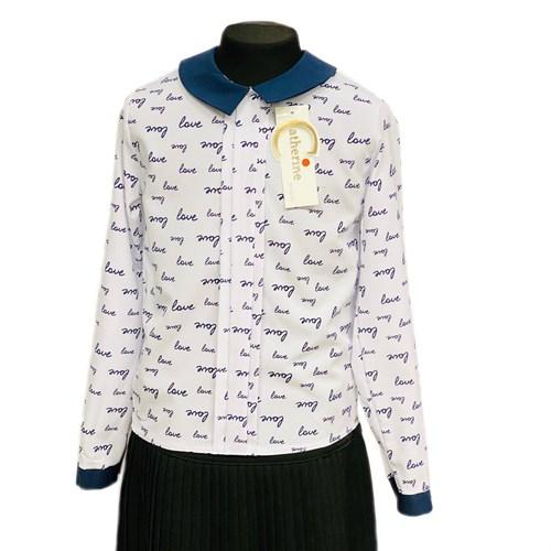 Catherine блузка длинный рукав, прямая, Love, белая (р-ры128-158) - фото 37767