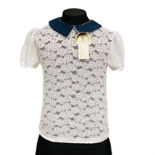 Catherine блузка короткий рукав, гипюровая на резинке, белая (р.128-158) - фото 37768