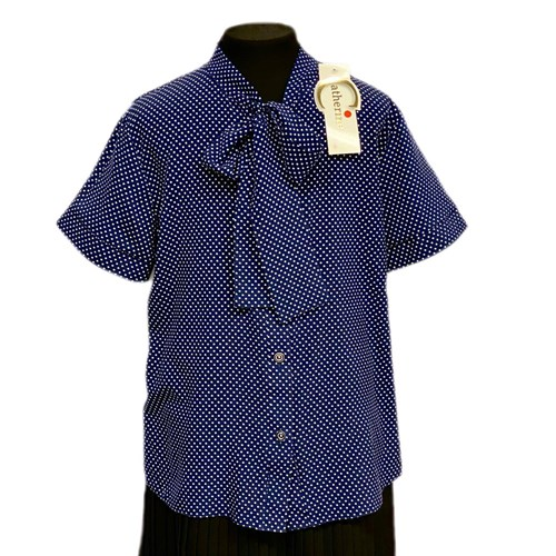Catherine блузка короткий рукав, прямая, синяя в горох (р.158-170) - фото 37777