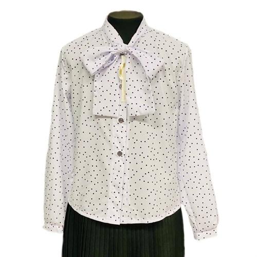 Catherine блузка длинный рукав, прямая, белая в горох (р.128-158) - фото 37778