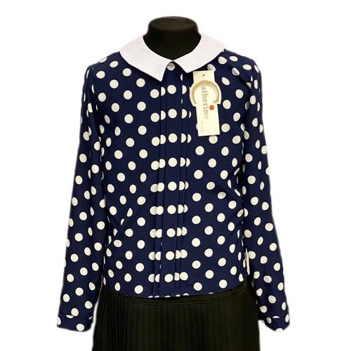 Catherine блузка длинный рукав, прямая, крупный горох, синяя (р-ры128-158) - фото 37809