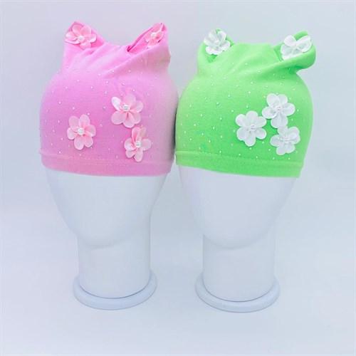 шапка одинарный трикотаж (р.48-50) цветы - фото 37864