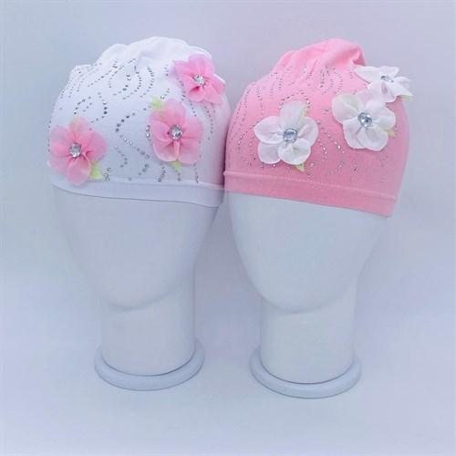 шапка одинарный трикотаж (р.48-50) цветы - фото 37870