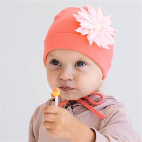 """ambra шапка """"цветок"""" двойной трикотаж с завязками (р.44-46) - фото 38402"""