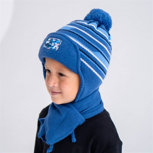 AGBO комплект 1590 JODOR  шапка с утеплителем, подклад хлопок+шарф (р.50-52) - фото 38830