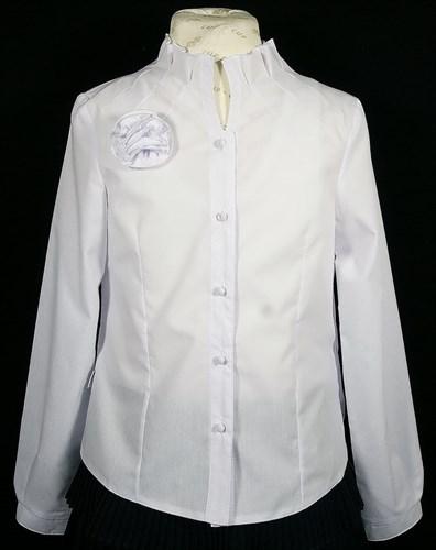 BG блузка длин.рук., ворот-стойка с розой, белая (рост с 134 по164) в уп.6шт. - фото 4653