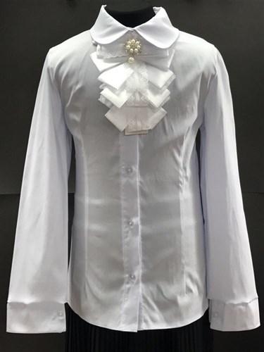 блузка ЛЮТИК модель 20168 белая дл. рук. жабо-лента (рост128,134,140,146,152) - фото 4670