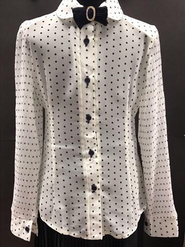 блузка ЛЮТИК модель 20151-2 мальнький бант длинный рукав в горошек,молочный цвет (рост128) - фото 4689