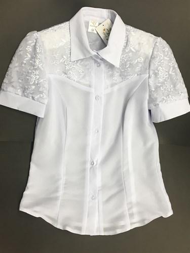 блузка ЛЮТИК модель 20145 короткий рукав верх-шитье (рост 152,158) - фото 4713