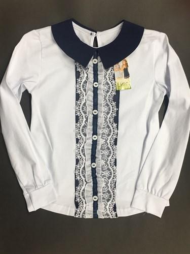 Catherine блузка длинный рукав белая вертикальная вставка шитье (р.134 в нал.) - фото 4746