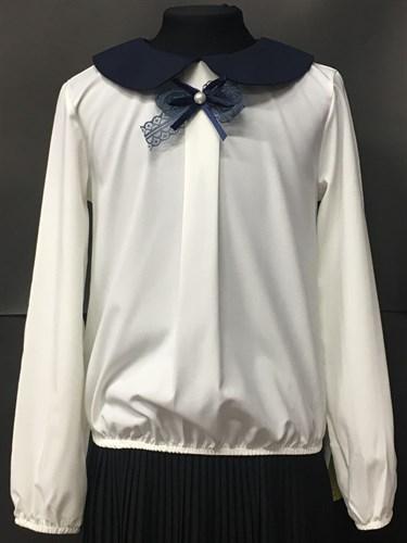 Zibi блузка длин.рук. бантик-ленточка, кремовая (разм128-158) - фото 4771