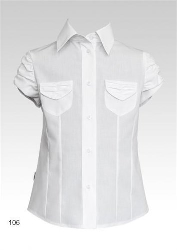 SLY модель 106 блузка белая кор.рук. карманы (р-ры128-158) 6 шт. - фото 4789