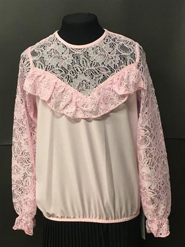 Zibi блузка длинный рукав, верх-гипюр, розовая (р.122-152) - фото 4948