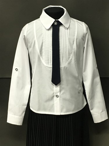 BG блузка дл.рук, c галстуом, плессе, белая (рост 134-164) в уп.6шт. - фото 5034