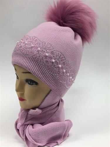 LVG шапка для девочки с утеплителем + шарф (р.52-54) (в нал: кремовый) - фото 5899