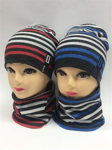 ambra комплект шапка дв.трикотаж + снуд (р.50-54) - фото 6748