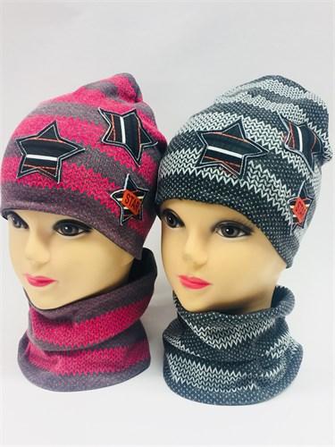 ambra комплект шапка дв.трикотаж + снуд (р.50-54) - фото 6934