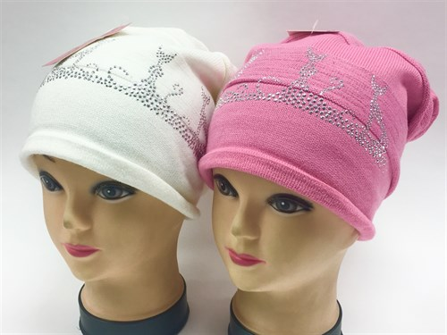 KOLAD шапка одинарная вязка (кошки-стразы)(р.54-58) т. роз, св.роз - фото 7991