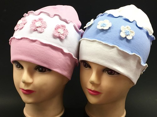 Boys Girls шапка одинарный трикотаж (цветочки)(р.48-50) - фото 8605