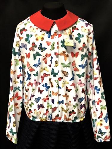 Catherine блузка длинный рукав, на резинке, бабочки цветные (р.128-158) - фото 9605