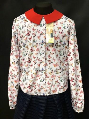 Catherine блузка длинный рукав, на резинке, бабочки цветные (р.128-158) - фото 9607