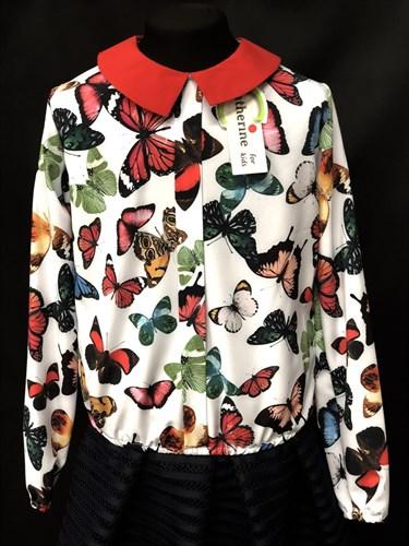 Catherine блузка длинный рукав. на резинке, бабочки цветные (р.128-158) - фото 9609