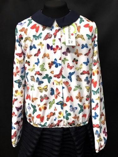 Catherine блузка дл.рук. с резинкой, бабочки цветные (р.128-158) - фото 9611