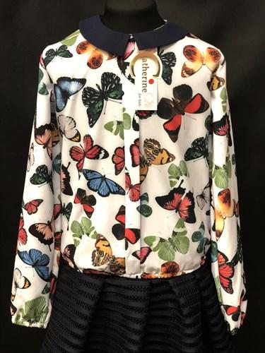Catherine блузка длинный рукав, на резинке, бабочки цветные (р.128-158) - фото 9613