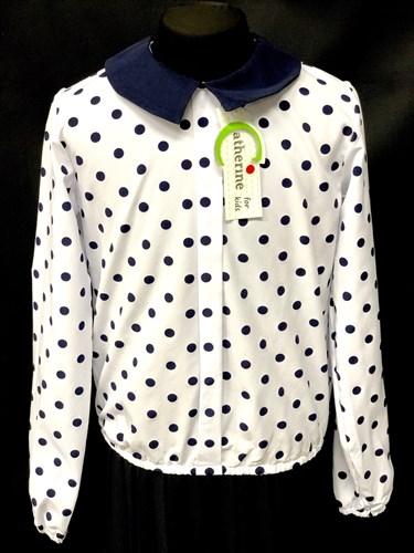 Catherine блузка длинный рукав, прямая, в горох3, белая (р-ры128-158) - фото 9838
