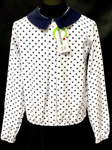 Catherine блузка длинный рукав, на резинке, в горох, белая (р-ры128-158) - фото 9839