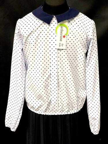 Catherine блузка длинный рукав, на резинке, в горох, белая (р-ры128-158) - фото 9840
