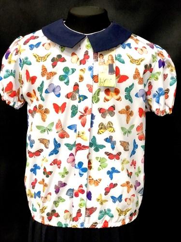 Catherine блузка короткий рукав, на резинке, бабочки цветные (р.128-158) - фото 9911