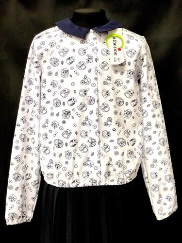 Catherine блузка длинный рукав с резинкой, совы, белая (р-ры128-158) - фото 9927