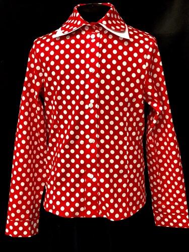AGATKA блузка длинный рукав горох, красная (р.128-158) 6шт. - фото 9993
