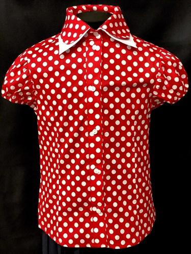 AGATKA блузка короткий рукав, горох, красная (р.128-158) 6шт. - фото 9997
