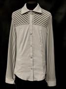 блузка ЛЮТИК модель 20109 серая длинный рукав полоски (рост146,152,158,164,170)