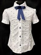 блузка ЛЮТИК модель 20181 кор.рукав, белая (рост128,134,140,146,152)