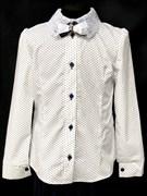 блузка ЛЮТИК модель 20182 длин.рукав, бел. (рост128,134,140,146,152)