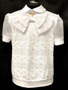 блузка ЛЮТИК модель 20170 короткий рукав, белая  (рост128,134,140,146,152)