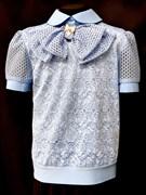 блузка ЛЮТИК модель 20170 кор.рук. голубая ткань узоры (рост128,134,140,146,152)